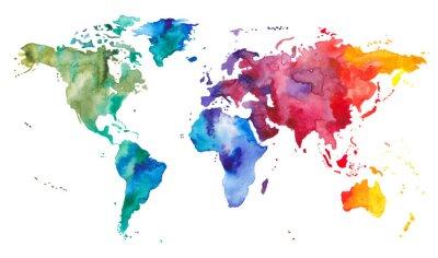 Naklejka Akwarela Mapa świata