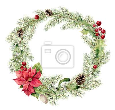 Akwarela Narodzenie jodła wieniec z ostrokrzewu, jemioły i poinsecja. Nowy rok wieniec gałęzi drzewa do projektowania, drukowania lub tła