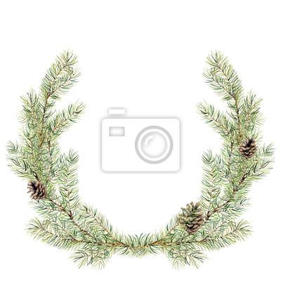 Akwarela Narodzenie jodła wieniec z szyszek. Nowy rok wieniec gałęzi drzewa do projektowania, drukowania lub tła