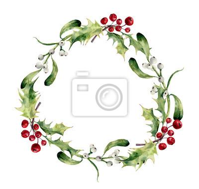 Akwarela Narodzenie wieniec z ostrokrzewu i jemioły. Ręcznie malowany kwiatowy granicy Boże Narodzenie na białym tle. Ilustracje z roślinami do projektowania