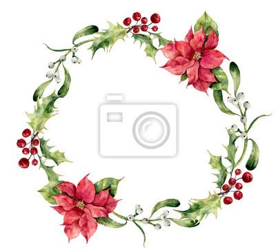 Akwarela Narodzenie wieniec z ostrokrzewu, jemioły i poinsecja. Ręcznie malowany kwiatowy granicy Boże Narodzenie na białym tle.