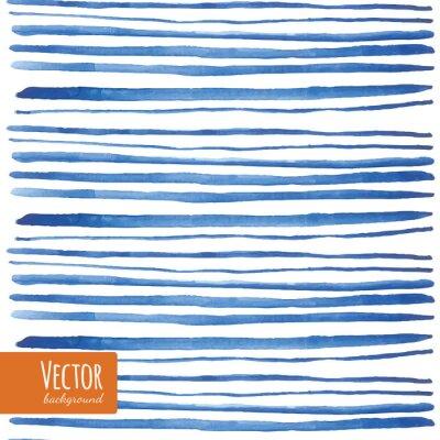 Naklejka Akwarela niebieskie paski w wektorze.