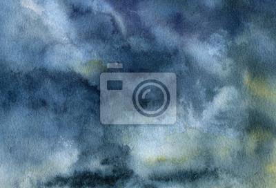 Akwarela niebo z chmurami w tle. Ręcznie malowane blu artystycznej