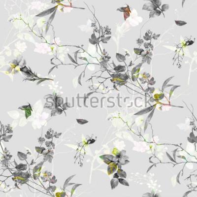Naklejka Akwarela obraz liść i kwiaty, wzór wzoru na popielatym tle