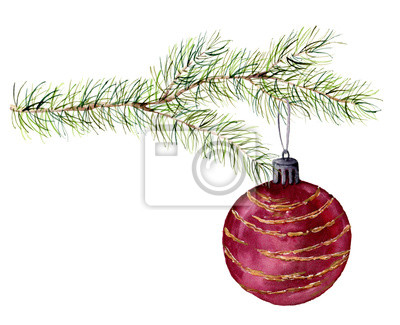 Akwarela oddział choinki z piłką. Ręcznie malowane ilustracji z fir-igły elementu naturalnego i Christmas kulki na białym tle. Zima naturalnym elementem projektu