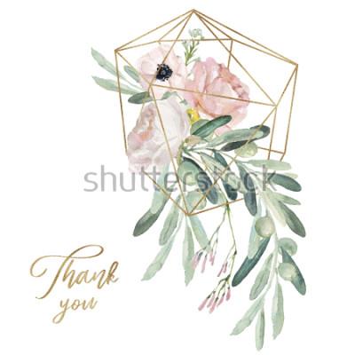Naklejka Akwarela olea ilustracja kwiatowy - gałązka oliwna, rumieniec bukiet kwiatów z złoty geometryczny kształt, na wesele stacjonarne, pozdrowienia, tapety, moda, tło.