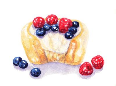 Naklejka Akwarela owoce tart sernik z jagodami na białym tle