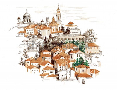 Naklejka Akwarela pejzaż miejski z domami ilustracyjnymi.