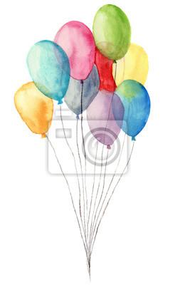 Akwarela powietrze balony. Ręcznie malowane ilustracji niebieski, różowy, żółty, fioletowy balonów na białym tle. Strona lub życzeniami obiektu