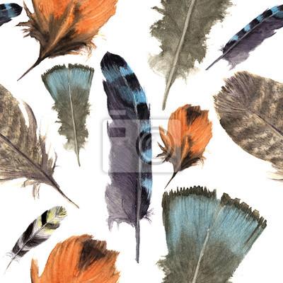Akwarela ptaki pióra boho wzór. Bezszwowych tekstur z ręcznie rysowanych piór. Ilustracja dla projektu. Żywe kolory.