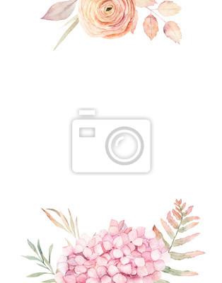 Akwarela rama z hortensji, róży i liści. Ręcznie rysowane ilustracja