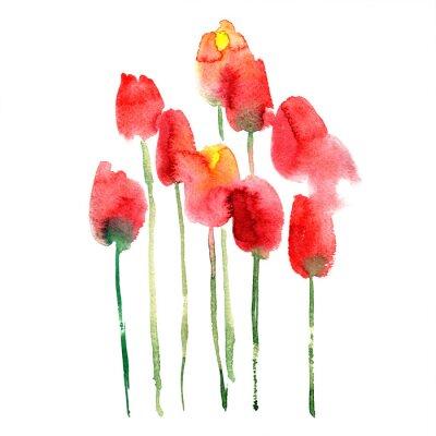 Naklejka Akwarela ręcznie malowane czerwone i żółte tulipany