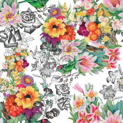 Akwarela ręcznie rysowane bez szwu deseń z kwiatów i ptaków egzotycznych tropikalne lato