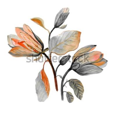 Naklejka Akwarela ręcznie rysowane piękny kwiat magnolii. Kompozycja jesiennych zielonych kwiatów. Jesienny bukiet.
