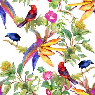 Akwarela ręcznie rysowane wzór z piękne kwiaty i kolorowe ptaki na białym tle.
