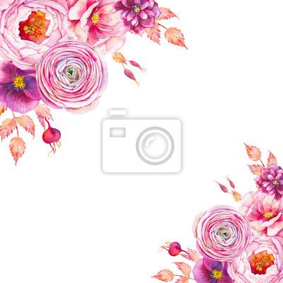 Akwarela rocznika rama z piwonie, Jaskier i róże. Ręcznie malowane kwiatowy tło. Zaproszenie w stylu ogrodu