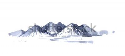 Naklejka Akwarela rysunek góry