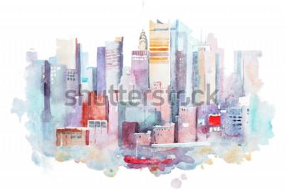 Naklejka akwarela rysunek miasta Nowy Jork, USA. Malowanie akwareli na Manhattanie