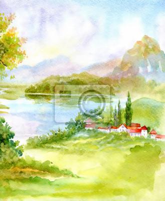 Akwarela rzeki krajobraz natura