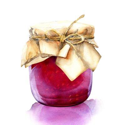 Naklejka akwarela słoik z dżemem czerwone jagody