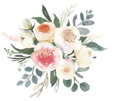 Naklejka Akwarela ślub bukiet kwiatowy kompozycja z białych róż i eukaliptusa