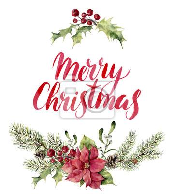 Akwarela święta kwiatowy print witn Merry Christmas napis. Nowy rok gałęzi drzewa z poinsecja, jemioły, ostrokrzewu i szyszki do projektowania, drukowania lub tła