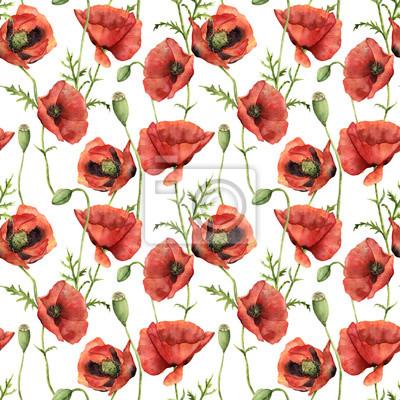 Naklejka Akwarela szwu z makami. Ręcznie malowane kwiatu ilustracji z kwiatów, liści, nasiona kapsułki i oddziałów samodzielnie na białym tle. Do projektowania, drukowania i tła