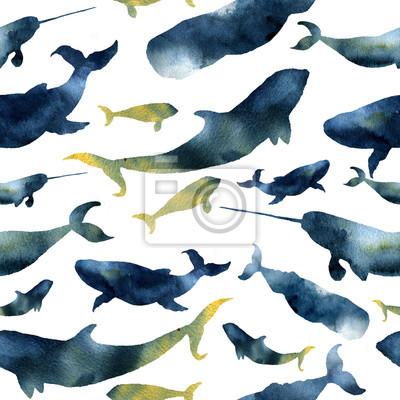 Akwarela szwu z sylwetkami wielorybów. Ilustracja z płetwal błękitny, kaszalot, Orca i Narwal na białym tle. Do projektowania, grafiki lub tła