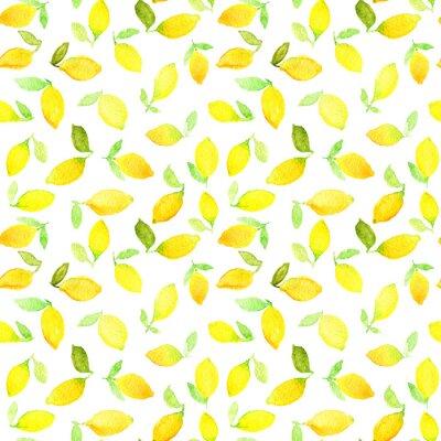 Naklejka Akwarela szwu z żółtych cytryn. Może być stosowany do papieru do pakowania, tło urodziny, Dzień Matki i wszelkie święta.