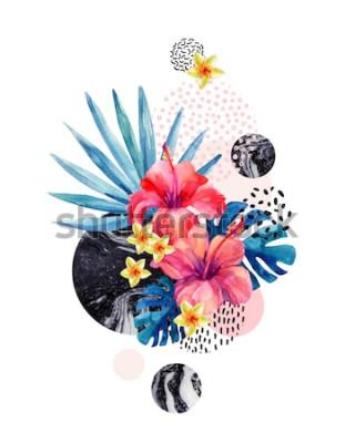 Naklejka Akwarela tropikalne kwiaty na geometrycznym tle z marmurki, doodle tekstury. Ręcznie rysowane kwiat z palmą wachlarzową, liśćmi monstera, geometryczne kształty w minimalistycznym stylu. Ilustracja akw