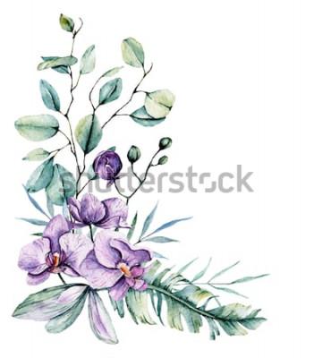Naklejka Akwarela tropikalnych kwiatów, granicy z liśćmi i storczyków. Malarstwo botaniczne, aranżacja kartki ślubnej, pozdrowienia, tła, zaproszenia, blog itp. Samodzielnie na białym tle.