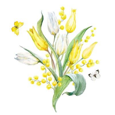 Naklejka Akwarela tulipan skład