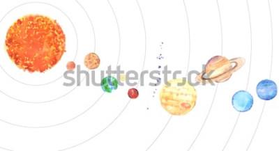 Naklejka Akwarela Układ Słoneczny. Słońce i planety (Merkury, Wenus, Ziemia, Mars, Jowisz, Saturn, Uran, Neptun) na białym tle.