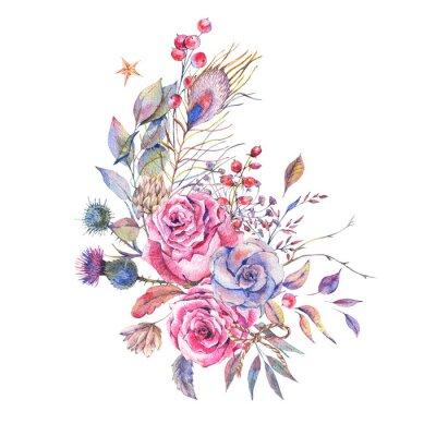 Akwarela vintage róż, osty, kwiaty