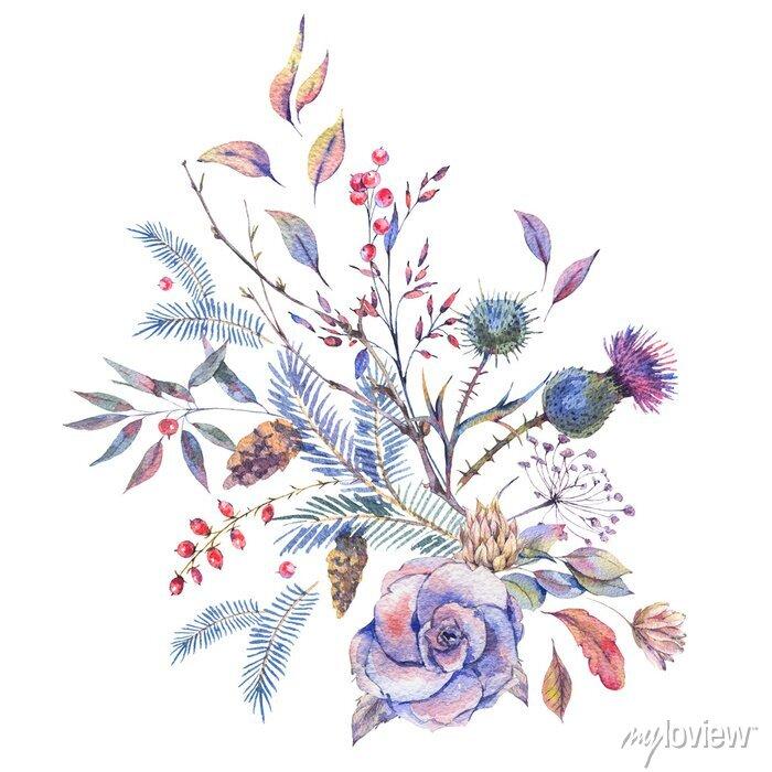 Naklejka Akwarela vintage róż, osty, kwiaty