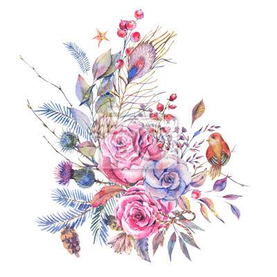 Akwarela vintage róże, osty, kwiaty i ptaki