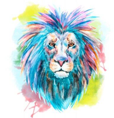 Naklejka Akwarela wektor lew