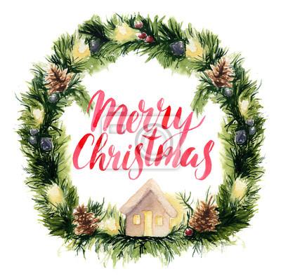 Akwarela Wieniec karta z napisem Merry Christmas. Ręcznie malowane granicy z gałęzi jodłowych, girlandy, minusy sosnowe i choinkowe zabawki na białym tle.