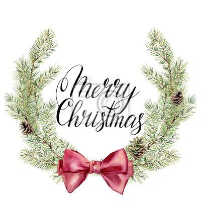 Akwarela Wieniec witn Merry Christmas napis. Nowy rok wieniec z gałęzi drzewa łukiem i stożków do projektowania, drukowania lub tle
