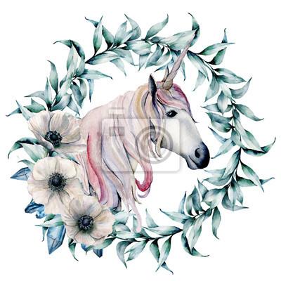 Akwarela wieniec z liści eukaliptusa i jednorożca. Ręcznie malowane wieniec kwiatowy z oddziałów i białe zawilce na białym tle. Ilustracja do projektowania, drukowania lub tła.