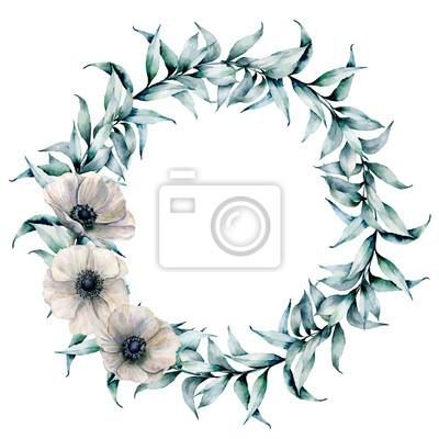 Akwarela wieniec z liści eukaliptusa i zawilec. Ręcznie malowane wieniec kwiatowy z gałęzi i białych kwiatów na białym tle. Ilustracja do projektowania, drukowania lub tła.