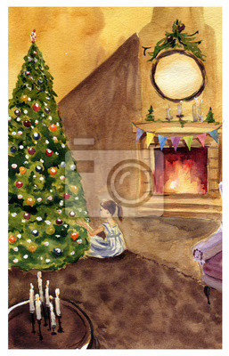 Akwarela Wigilia ilustracji. Ręcznie malowane ilustracji z choinki, ognisko, dziewczyna do projektowania, drukowania lub tła