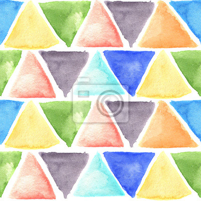 Akwarela wzór z kolorowych trójkątów. Wyciągnąć rękę ilustracją artystycznego projektowania, tkaniny, tło.