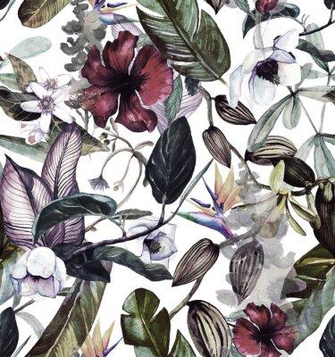 Naklejka Akwarela wzór z tropikalnych kwiatów, magnolii, kwiat pomarańczy, wanilii orchidei, tropikalny liści, liści bananowca