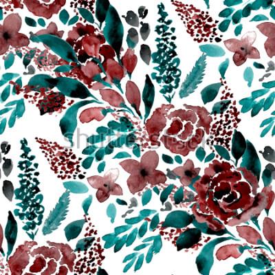 Naklejka Akwarela wzoru wzór prosty kwiat wyciągnąć rękę. Wzór w kwiaty.