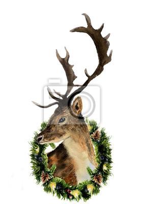 Akwarela z jelenia Boże Narodzenie wieniec na białym tle. Boże Narodzenie dziki ilustracja zwierzę do projektowania, drukowania lub tła