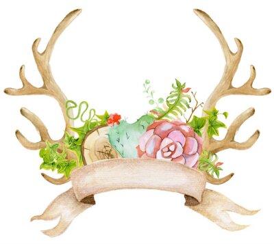 Akwarela z poroża, kaktus, soczyste i liści. Ręcznie malowane jelenie stylu horns.Boho dla swojego projektu. zaproszenia ślubne, karty Valentines Day, ect