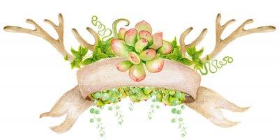 Akwarela z poroża, kaktus, soczyste i liści. Ręcznie malowane rogów jelenia. Styl Boho dla swojego projektu. zaproszenia ślubne, karty Valentines Day, ect