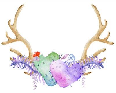 Akwarela z poroża, kaktus, soczyste i paproci. Ręcznie malowane rogów jelenia. Styl Boho dla swojego projektu. zaproszenia ślubne, karty Valentines Day, ect