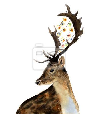 Akwarela z sarny girlanda świateł z rogami na białym tle. Boże Narodzenie dziki ilustracja zwierzę do projektowania, drukowania lub tła